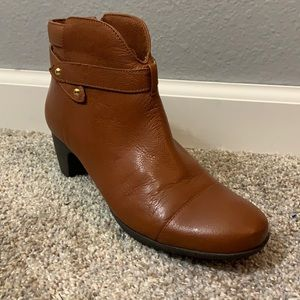 Softwalk brown heeled booties with strap size 7.5